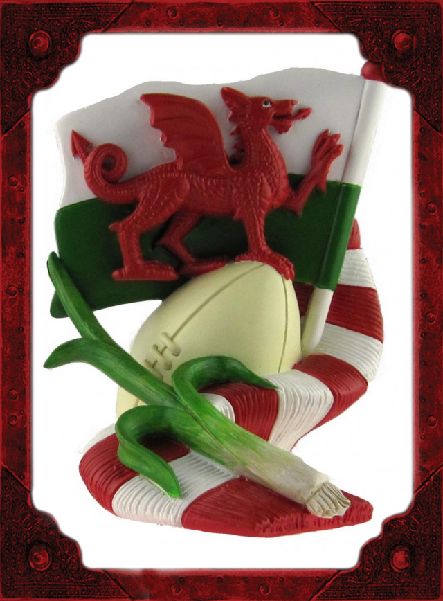 WC0005 Flag, Scarf, Leek & Rugby Ball Model